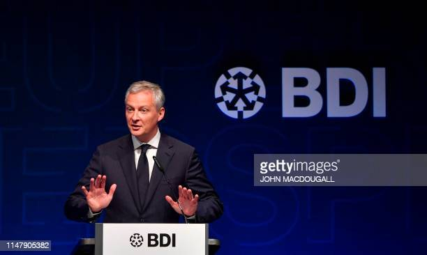French Economy and Finance Minister Bruno Le Maire gives a speech during the Tag der Deutschen Industrie conference organised by The Federation of...