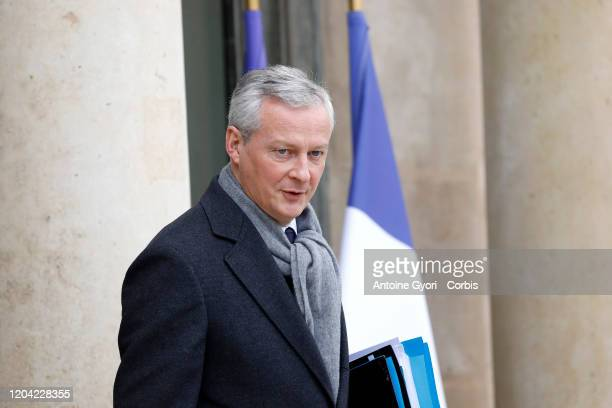 French Economy and Finance Minister Bruno Le Maire leaves Elysee Palace after a weekly cabinet meeting on February 5 2020 in Paris France