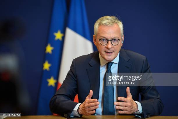 French Economy and Finance Minister Bruno Le Maire speaks during a press conference on the European recovery plan, at the Economy Ministry in Paris,...