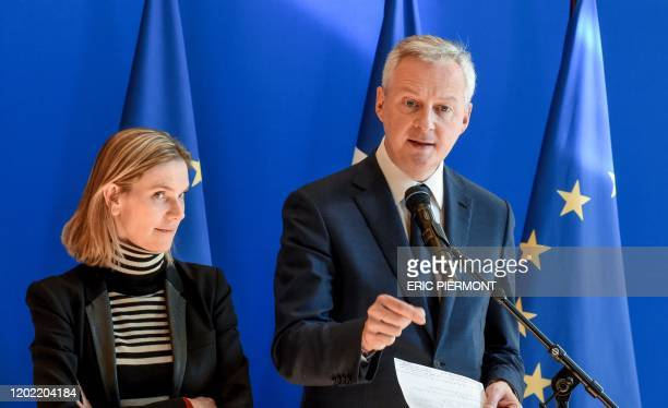 French Economy and Finance Minister Bruno Le Maire speaks next to French Junior Minister for Economy and Finance Agnes PannierRunacher during a press...