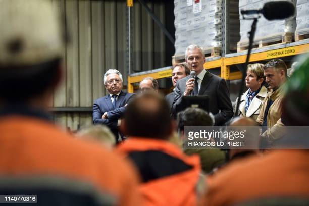 French Economy and Finance Minister Bruno Le Maire speaks to the employees of Ascoval steel plant in SaintSaulve near Valenciennes northern France...