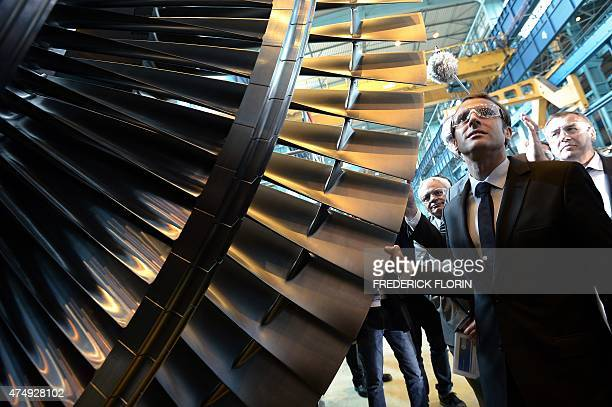 French Economy and Industry minister Emmanuel Macron visit the French power and transport engineering company Alstom plant in Belfort eastern France...