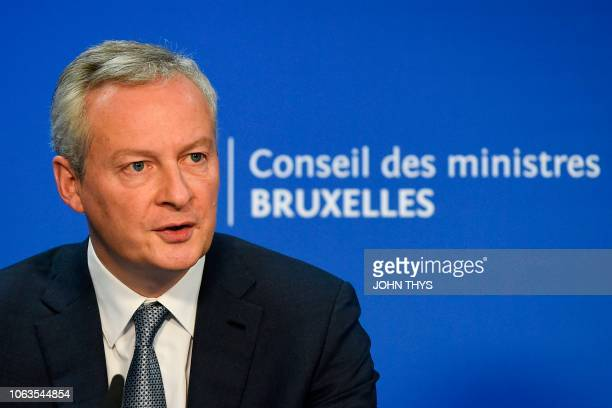 French Economy Finance Trade Minister Bruno Le Maire gives a joint press with German Finance Minister after an Eurogroup meeting on Eurogroup reform...