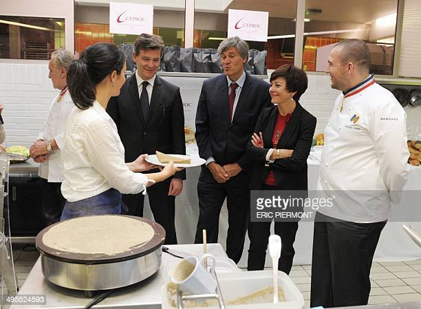 French Economy Minister Arnaud Montebourg Agriculture minister and Government spokesperson Stephane Le Foll new French Trade and Handicraft Junior...