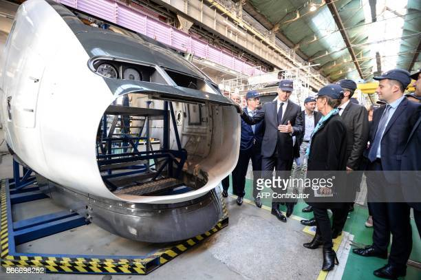 French Economy Minister Bruno Le Maire and French Transports Minister Elisabeth Borne visit the site of French train maker Alstom in Belfort on...