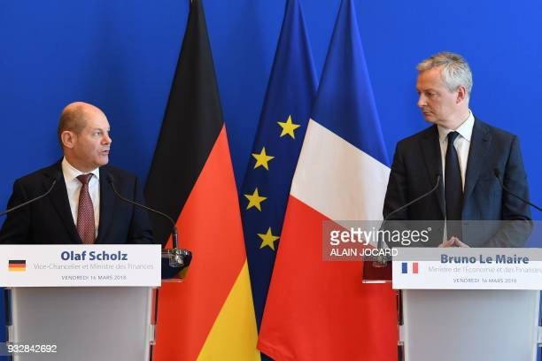 French Economy Minister Bruno Le Maire and German Economy and Finance Minister and ViceChancellor Olaf Scholz give a joint press conference after...