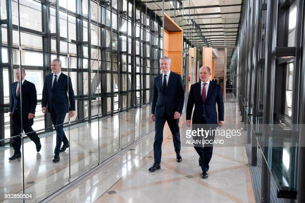 French Economy Minister Bruno Le Maire and German Economy and Finance Minister and ViceChancellor Olaf Scholz arrive for a joint press conference...