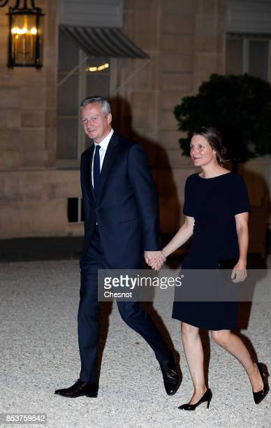 French Economy minister Bruno Le Maire and his wife Pauline arrive for a state dinner with Lebanese President Michel Aoun and French President...
