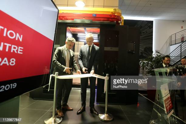 French Economy Minister Bruno Le Maire and Regis Castagne managing director of Southern European Equinix Data Center inaugurate the Paris data centre...