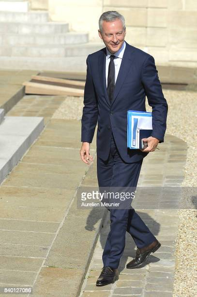 French Economy Minister Bruno Le Maire arrives at Elysee Palace for a cabinet meeting on August 28 2017 in Paris France