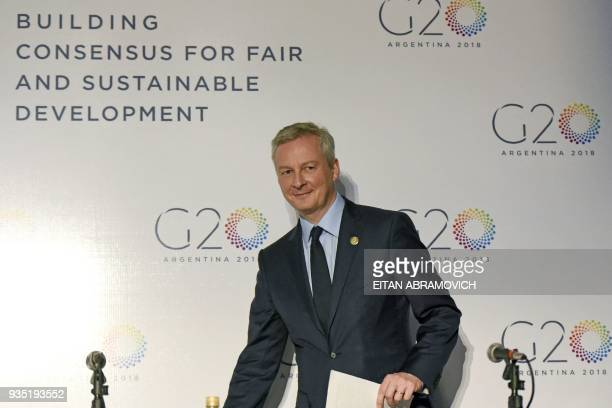 French Economy Minister Bruno Le Maire arrives to a press conference during the G20 meeting of Finance Ministers and Central Bank Governors in Buenos...
