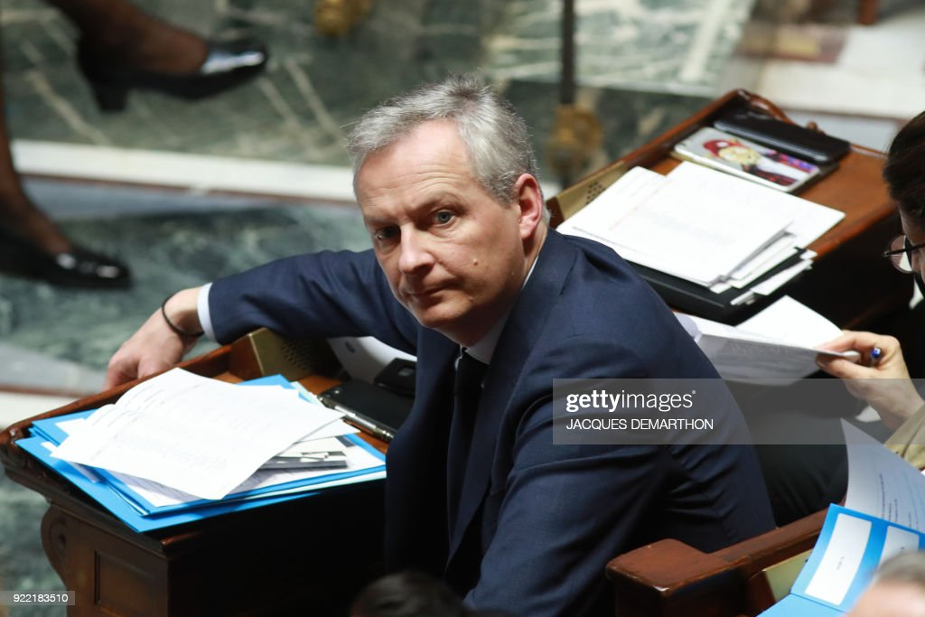 French Economy Minister Bruno Le Maire attends a session of questions to the government at the National Assembly in Paris on February 21, 2018. /