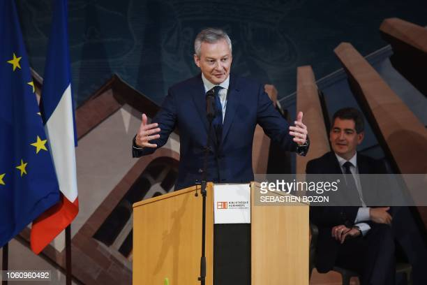 French Economy Minister Bruno Le Maire delivers a speech at the new Humanist Library in Selestat eastern France as part of its inauguration on...