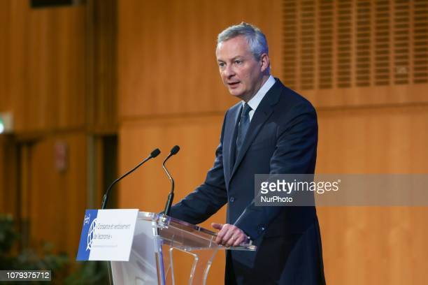 French Economy Minister Bruno Le Maire delivers a speech during a symposium titled quotGrowth and the greening of the economyquot at the the Minister...