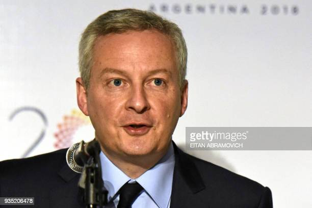 French Economy Minister Bruno Le Maire delivers a speech during a press conference during the G20 meeting of Finance Ministers and Central Bank...