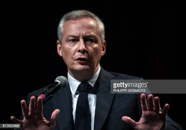 French Economy Minister Bruno Le Maire delivers a speech during the 10th Journee de l'Economie on November 9 2017 in Lyon / AFP PHOTO / PHILIPPE...
