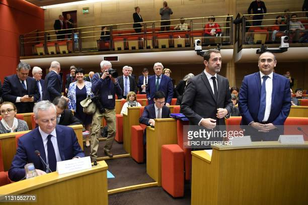French Economy Minister Bruno Le Maire French Interior Minister Christophe Castaner and French Junior Minister attached to the Interior Ministry...