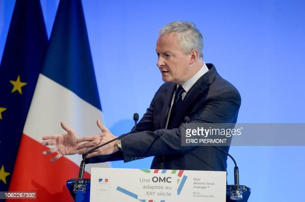 French Economy Minister Bruno Le Maire gestures as he delivers a speech as part of a conference entitled A WTO fit for the 21st century on November...