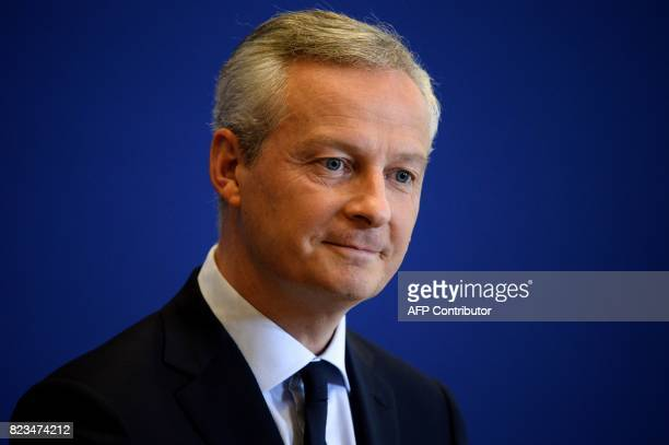 French Economy Minister Bruno Le Maire gives a press conference about the STX shipyard on July 27 2017 at the Economy Ministry in Paris France will...