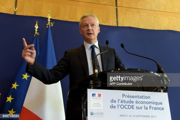 French Economy Minister Bruno Le Maire gives a press conference at the French Economy ministry to present the latest OECD economic survey of France...