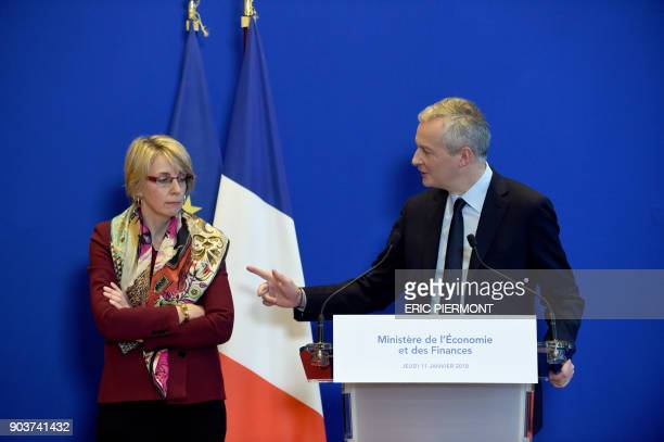 French Economy Minister Bruno Le Maire gives a press conference flanked by Virginie Beaumeunier head of the General Directorate for Competition...