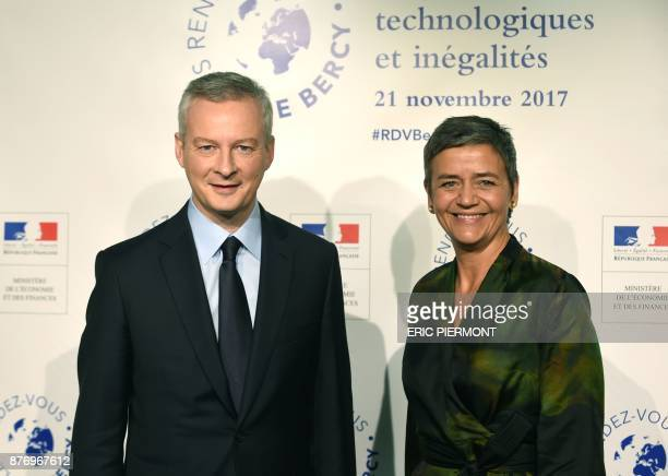 French Economy Minister Bruno Le Maire greets European Commissioner for competition Margrethe Vestager prior to attend a meeting on 'Technology...