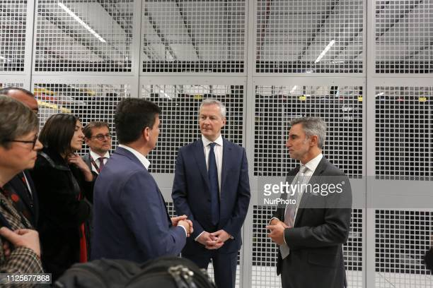 French Economy Minister Bruno Le Maire is guided by Regis Castagne managing director of Southern European Equinix Data Center during the inauguration...