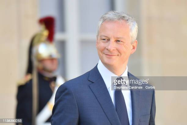 French Economy minister Bruno Le Maire leaves the Elysee Palace after the meeting with French President Emmanuel Macron Chinese President Xi Jinping...