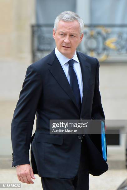French Economy Minister Bruno Le Maire leaves the Elysee Palace after the weekly cabinet meeting with French President Emmanuel Macron on July 19...
