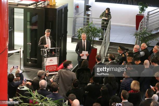 French Economy Minister Bruno Le Maire listen Regis Castagne managing director of Southern European Equinix Data Center as they inaugurate the Paris...
