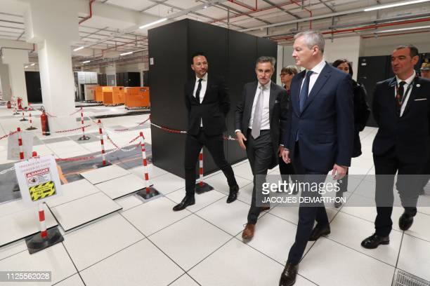 French Economy Minister Bruno Le Maire listens to Regis Castagne managing director of Southern European Equinix Data Center during the inauguration...