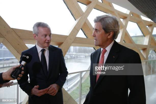 French Economy Minister Bruno Le Maire makes a statement next to Former US Secretary of State John Kerry prior to a cession on the theme 'Green...