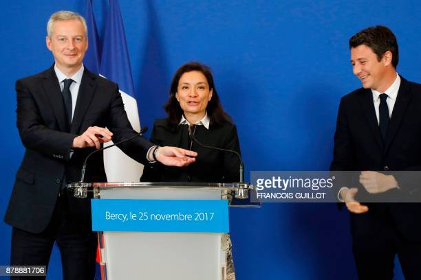 French Economy Minister Bruno Le Maire newlyappointed French Junior Minister for Economy Delphine GenyStephann and outgoing French Junior Minister...