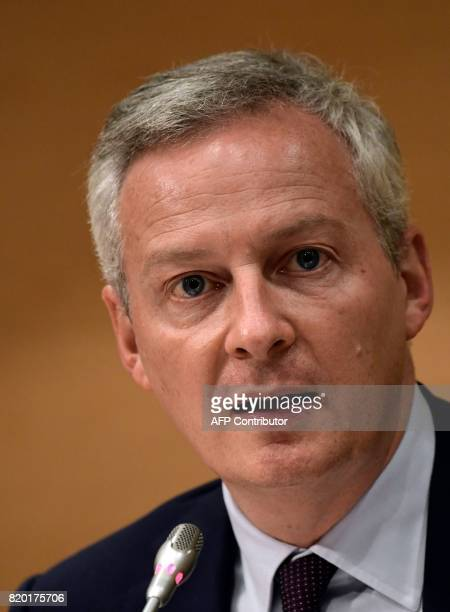 French Economy Minister Bruno Le Maire speaks during a joint press conference with his Spanish counterpart at the Economy Ministry headquarters in...