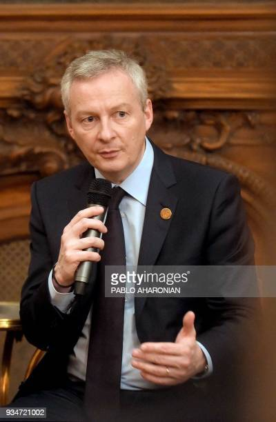 French Economy Minister Bruno Le Maire speaks during a press conference at the French embassy in the sidelines of the G20 Meeting of Finance...