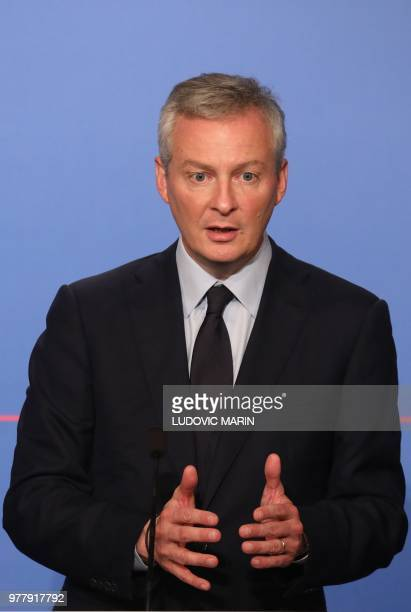 French Economy Minister Bruno Le Maire speaks during a press briefing about the Pacte bill the Action Plan for the Growth and Transformation of...