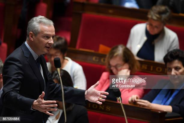 French Economy Minister Bruno Le Maire speaks during a session of questions to the government on October 3 2017 at the French National Assembly in...