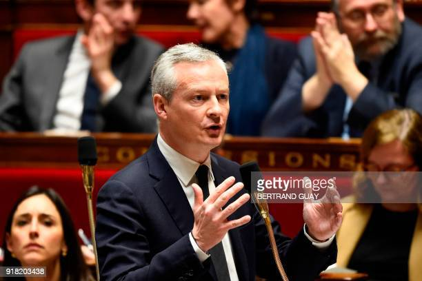 French Economy Minister Bruno Le Maire speaks during a session of questions to the government on February 14 2018 at the French National Assembly in...