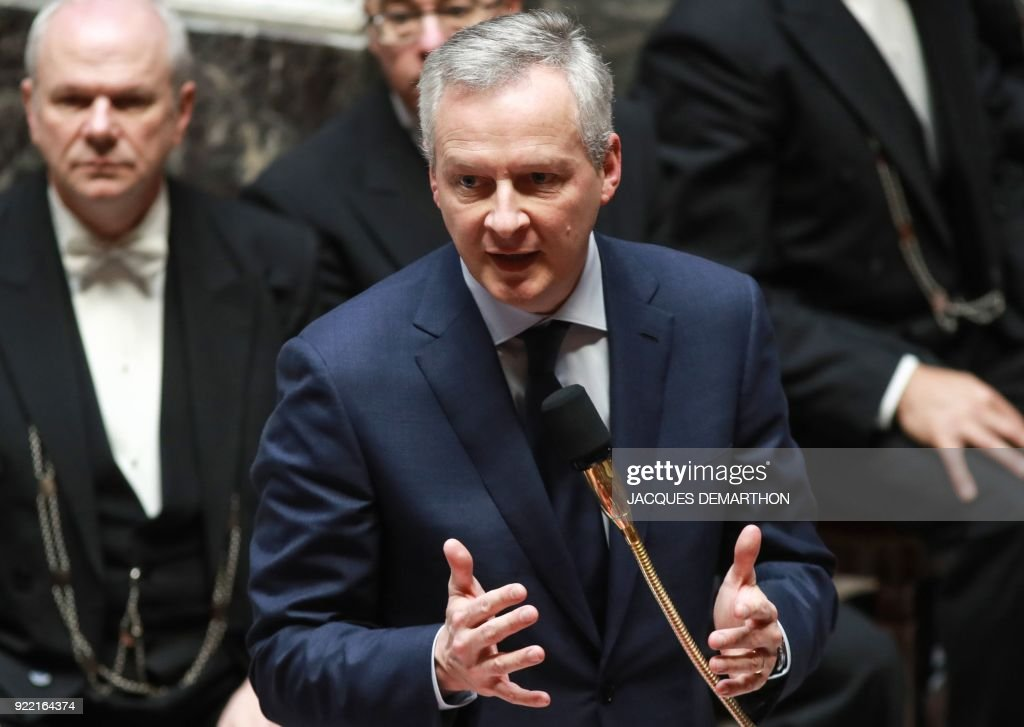 French Economy Minister Bruno Le Maire speaks during a session of questions to the government at the National Assembly in Paris on February 21, 2018. /