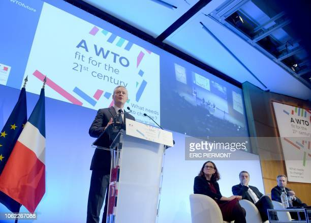 French Economy Minister Bruno Le Maire speaks during the conference A WTO fit for the 21st century as European Trade Commissioner Cecilia Malmstrom...