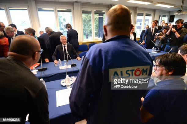 French Economy Minister Bruno Le Maire takes part to the Alstom national followup committee meeting at the site of French train maker Alstom in...