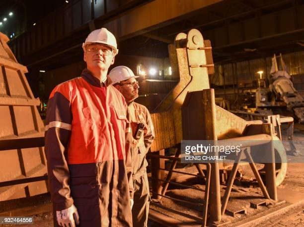 French Economy Minister Bruno Le Maire visits the multinational steel manufacturing corporation Arcelor Mittal plant in Dunkirq on March 15 2018 /...