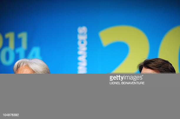 French Economy Minister Christine Lagarde and Budget minister Francois Baroin take part in a press conference on September 29 2010 in Paris following...