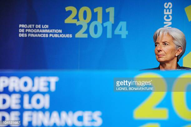 French Economy minister Christine Lagarde attends a press conference on September 29 2010 in Paris following the unveiling of France's 2011 budget...