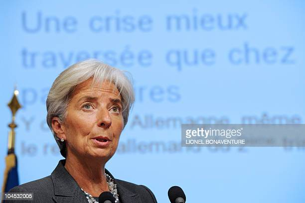 French Economy Minister Christine Lagarde delivers a speech during a press conference on September 29 2010 in Paris following the unveiling of France...