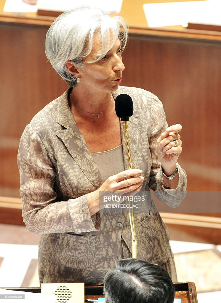 French Economy Minister Christine Lagarde delivers a speech during the session of questions to the government on May 25, 2010 at the National Assembly in Paris. France, which last week switched tack to announce a three-year freeze on public spending, also seemed to be heading towards raising the minimum retirement age to 65.