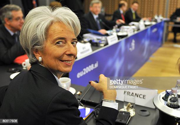 French Economy Minister Christine Lagarde smiles prior an informal meeting of Eurogroup finance ministers on April 4 at the conference center in Brdo...