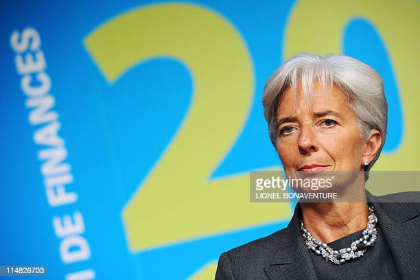 French Economy Minister Christine Lagarde takes part in a press conference on September 29 2010 in Paris following the unveiling of France 2011...
