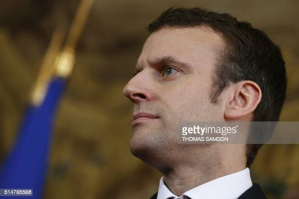 French Economy minister Emmanuel Macron is pictured during a press conference of French Prime minister following his meeting with students union...