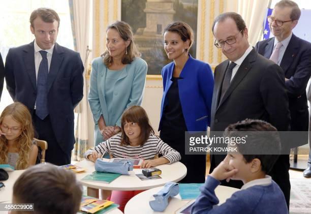 French Economy minister Emmanuel Macron Minister for Ecology Sustainable Development and Energy Segolene Royal Education minister Najat...